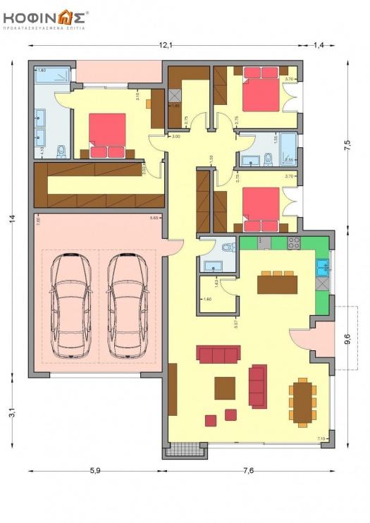 Ισόγεια Κατοικία Ι-160, συνολικής επιφάνειας 160,00 τ.μ.