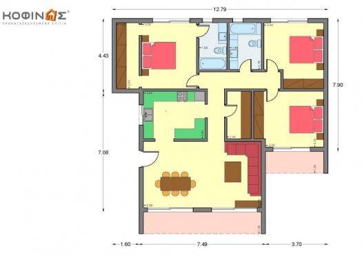 Ισόγεια Κατοικία Ι-123α, συνολικής επιφάνειας 123.18 τ.μ.