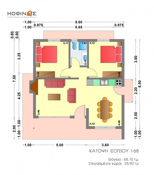 Ισόγεια Κατοικία I-68, συνολικής επιφάνειας 68,10 τ.μ.