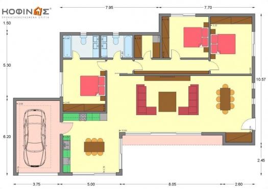 Ισόγεια Κατοικία Ι-162, συνολικής επιφάνειας 162,10 τ.μ.