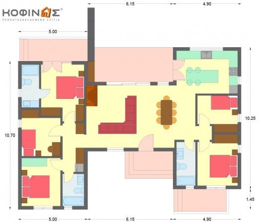 Ισόγεια κατοικία Ι-140, συνολική επιφάνειας 140.00 τ.μ.