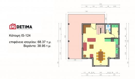 Ισόγεια Κατοικία με Σοφίτα ΙS-124, συνολικής επιφάνειας 124.92 τ.μ.