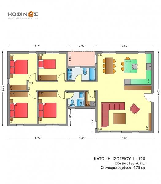 Ισόγεια Κατοικία I-128, συνολικής επιφάνειας 128,56 τ.μ.